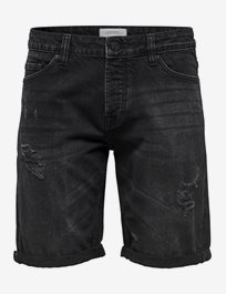 Onsply Black Damage Dcc 2018 Jeansshorts med breaks
