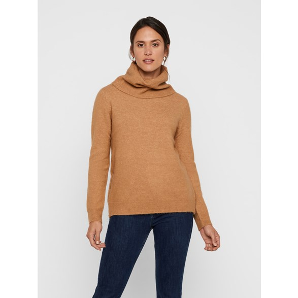Stickad polotröja Vmblakely Iva Cowl Zip Blouse